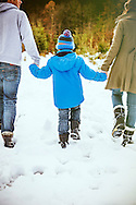 Two Parents, Son, Holding Hands, Bonding, Snow, Togetherness,