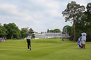 Chris Wood hits onto the 18th green during the BMW PGA Championship at Wentworth Club, Virginia Water, United Kingdom on 29 May 2016. Photo by Phil Duncan.