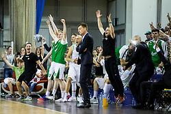 Players of Union Olimpija celebrate during basketball match between KK Union Olimpija and KK Rogaska in 4th Final game of Liga Nova KBM za prvaka 2016/17, on May 24, 2017 in Hala Tivoli, Ljubljana, Slovenia. Photo by Vid Ponikvar / Sportida