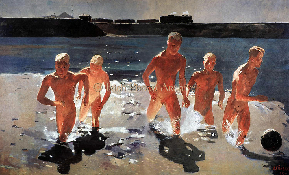 Alexander Deineka (1899-1969). Soviet Russian artist and sculptor. 'The Boys start running out from water'. 1935 A.K.A. 'Lunch Break in the Donbass'.