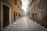 Narrow street and shops, Skradin, Dalmatia, Croatia