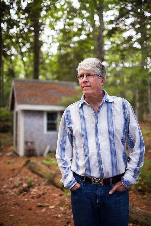 Douglas Preston, bestselling author and outspoken opponent of Amazon.com's business practices, at the small shed where he works near his home in Round Pond, Maine on Tuesday, Sept 9, 2014.<br /> <br /> Photo Copyright: CRAIG DILGER