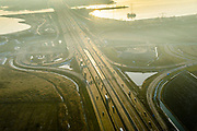 Nederland, Noord-Holland, Gemeente Muiden, 14-02-2017; A6 nabij Knooppunt Muiderberg, Hollandse brug over Gooimeer.<br /> Motorway A6 near Almere.<br /> luchtfoto (toeslag op standard tarieven);<br /> aerial photo (additional fee required);<br /> copyright foto/photo Siebe Swart