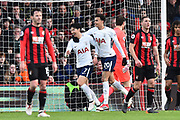 Goal - Heung-Min Son (7) of Tottenham Hotspur celebrates scoring a goal to make the score 1-2 with Dele Alli (20) of Tottenham Hotspur during the Premier League match between Bournemouth and Tottenham Hotspur at the Vitality Stadium, Bournemouth, England on 11 March 2018. Picture by Graham Hunt.
