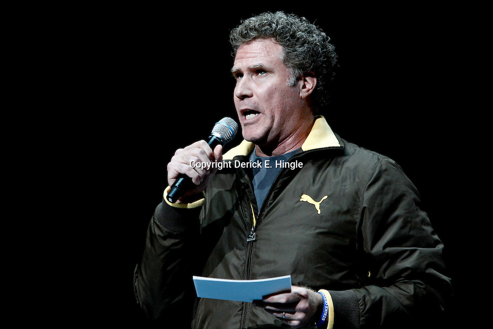 February 8, 2012; New Orleans, LA, USA; Actor Will Ferrell introduces the players prior to tip off of a game between the New Orleans Hornets and the Chicago Bulls at the New Orleans Arena.   Mandatory Credit: Derick E. Hingle-US PRESSWIRE