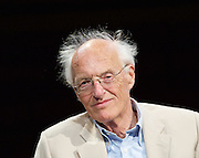 Michael Frayn <br /> portrait <br /> taken at Hampstead Theatre, London, Great Britain <br /> 1st May 2015 <br /> <br /> Michael Frayn was born 8th September 1933. He  is an English playwright and novelist. He is best known as the author of the farce Noises Off and the dramas Copenhagen and Democracy. His novels, such as Towards the End of the Morning, Headlong and Spies, have also been critical and commercial successes, making him one of the handful of writers in the English language to succeed in both drama and prose fiction. He has also written philosophical works, such as The Human Touch: Our Part in the Creation of the Universe.<br /> <br /> <br /> Photograph by Elliott Franks <br /> Image licensed to Elliott Franks Photography Services