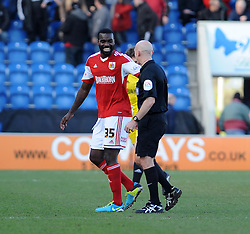 Bristol City's Karleigh Osborne shares a joke with the referee - Photo mandatory by-line: Dougie Allward/JMP - Mobile: 07966 386802 22/03/2014 - SPORT - FOOTBALL - Colchester - Colchester Community Stadium - Colchester United v Bristol City - Sky Bet League One