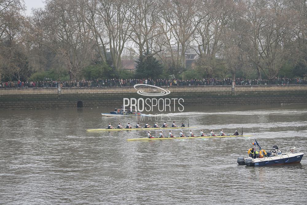 London, UK. 07 April 2019.  Oxford University Women's Boat Club (OUWBC) vs Cambridge University Women's Boat Club (CUWBC) Blue Crews.