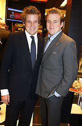 "Left to right, brothers ED LAWSON-JOHNSTON and HARRY LAWSON-JOHNSTON at a party to celebrate the opening of the new Mont Blanc store at 151 Sloane Street, London on 9th March 2005.  The evening was held in conjunction with UNICEF's ""Sign up for the right to write"" campaign which is raising money though the sale of celebraties 'statements' currently for auction on the ebay website.<br />