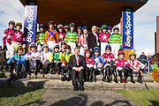 Horse Racing - Fairyhouse Easter Festival, Monday 28th March 2016<br /> An Taoiseach, Enda Kenny pictured with the Grand National jockeys before the start of the 2016 Irish Grand National<br /> Photo: David Mullen /www.cyberimages.net / 2016