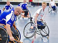 BREDA - Paragames 2011 Breda. Rick Spitsen zaterdag tijdens  de interland Nederland-Duitsland  bij het 4-landentoernooi Wheelchair Floorball Hockey, het  Nederlands handvoortbewogen rolstoelhockeyteam.  ANP COPYRIGHT KOEN SUYK