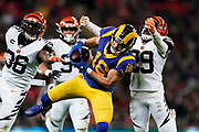 LA Rams Wide Receiver Cooper Kupp (18) catches a long pass during the International Series match between Los Angeles Rams and Cincinnati Bengals at Wembley Stadium, London, England on 27 October 2019.