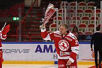2019-10-02 | Ljungby, Sweden: Troja-Ljungby (25) Mattias Åkesson gets celebrated for 600 played games in Troja / Ljungby during the game between IF Troja / Ljungby and Kalmar HC at Ljungby Arena ( Photo by: Fredrik Sten | Swe Press Photo )<br /> <br /> Keywords: Ljungby, Icehockey, HockeyEttan, Ljungby Arena, IF Troja / Ljungby, Kalmar HC, fstk191002, ATG HockeyEttan