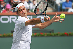 March 10, 2019 - Indian Wells, CA, U.S. - INDIAN WELLS, CA - MARCH 10: Roger Federer (SUI) hits a forehand during the BNP Paribas Open on March 10, 2019 at Indian Wells Tennis Garden in Indian Wells, CA. (Photo by George Walker/Icon Sportswire) (Credit Image: © George Walker/Icon SMI via ZUMA Press)