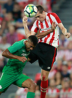 Athletic Club de Bilbao's Inigo Cordoba (r) and Panathinaikos FC's Bryan Cabezas during Europa League Play-off, 2nd leg. August 24,2017. (ALTERPHOTOS/Acero)