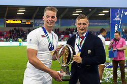 Harry Mallinder and Jack Walker of England U20 with the World Rugby U20 Championship trophy - Mandatory byline: Patrick Khachfe/JMP - 07966 386802 - 25/06/2016 - RUGBY UNION - AJ Bell Stadium - Manchester, England - England U20 v Ireland U20 - World Rugby U20 Championship Final 2016.