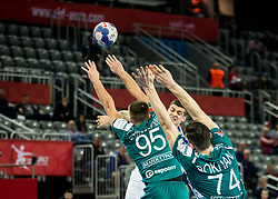 Petar Djordjic of Serbia vs Vadim Gayduchenko of Belarus and Viachaslau Bokhan of Belarus during handball match between National teams of Serbia and Belarus on Day 7 in Main Round of Men's EHF EURO 2018, on January 24, 2018 in Arena Zagreb, Zagreb, Croatia.  Photo by Vid Ponikvar / Sportida