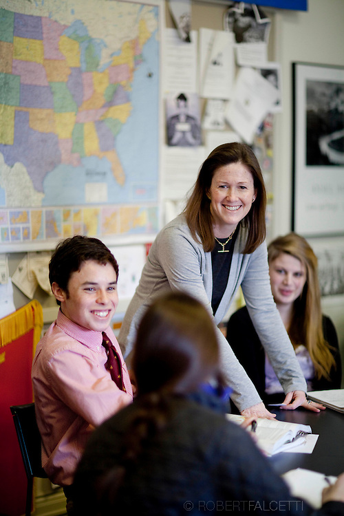The Pomfret School, Pomfret, CT. 2010-2011. History teacher Kate Gillin on the campus of the Pomfret School, a New England college preparatory boarding and day school. (Photo by Robert Falcetti).Admissions marketing & communications  photography-New England Private Independent School - New England Boarding Schools viewbook image. .
