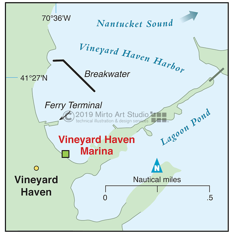Vector map of Vineyard Haven, Martha's Vineyard, Massachusettes marina
