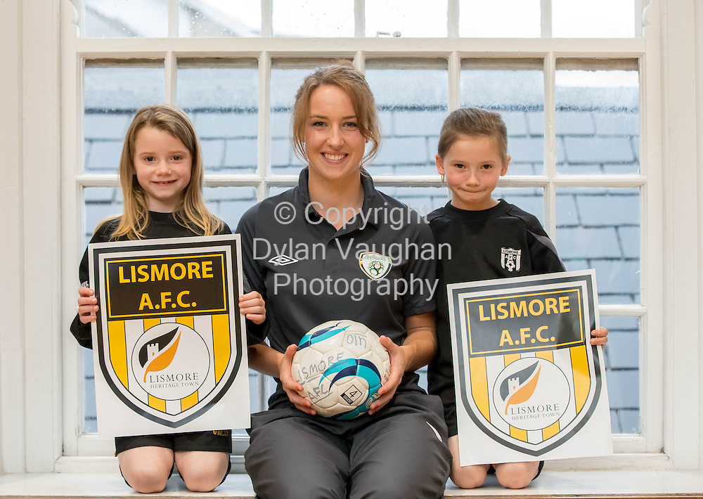 No Charge for repro<br /> <br /> 15/8/2013<br /> International Soccer Player Karen Duggan launching the Lismore AFC calendar with the Dani and Ally Stuart twins of Lismore Junior Academy.<br /> Lismore A.F.C., first to incorporate Lismore Marketing Brand into their Club Log<br /> <br /> Picture Dylan Vaughan.