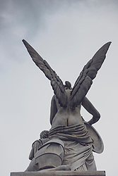 Statue of angel on Schlossbrucke bridge designed by  Karl Friedrich Schinkel in Mitte, Berlin, Germany