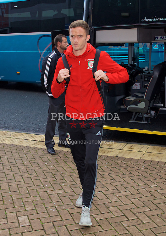 CARDIFF, WALES - Monday, September 5, 2016: Wales' Andy King arrives before the 2018 FIFA World Cup Qualifying Group D match against Moldova at the Cardiff City Stadium. (Pic by David Rawcliffe/Propaganda)