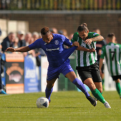 TELFORD COPYRIGHT MIKE SHERIDAN Marcus Dinanga of Telford and Anthony Callaghan of Blyth during the National League North fixture between Blyth Spartans and AFC Telford United at Croft Park on Saturday, September 28, 2019<br /> <br /> Picture credit: Mike Sheridan<br /> <br /> MS201920-023