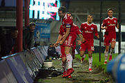 Accrington Stanley Midfielder Sean McConville (11) celebrates as he scores 0-2 during the EFL Sky Bet League 2 match between Grimsby Town FC and Accrington Stanley at Blundell Park, Grimsby, United Kingdom on 30 December 2017. Photo by Craig Zadoroznyj.