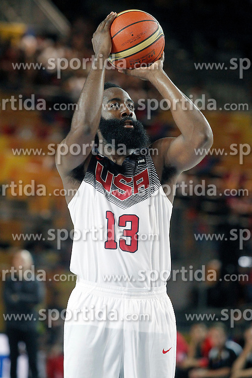 02.09.2014, City Arena, Bilbao, ESP, FIBA WM, USA vs Neuseeland, im Bild USA's James Harden // during FIBA Basketball World Cup Spain 2014 match between USA and New Zealand at the City Arena in Bilbao, Spain on 2014/09/02. EXPA Pictures &copy; 2014, PhotoCredit: EXPA/ Alterphotos/ Acero<br /> <br /> *****ATTENTION - OUT of ESP, SUI*****