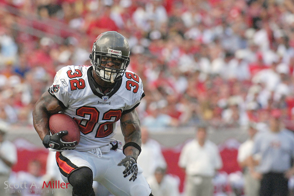 September 16, 2007; Tampa, FL, USA; Tampa Bay Buccaneers running back (32) Michael Pittman during his team's game against the New Orleans Saints  at Raymond James Stadium. Tampa Bay won the game 31-14....©2007 Scott A. Miller