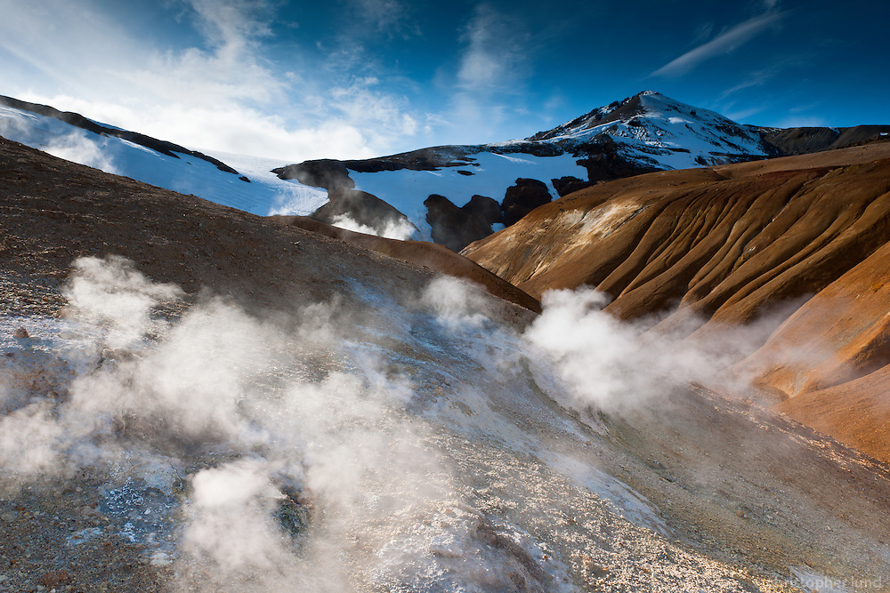 Venting Geothermal hills at Kerlingarfjöll Mountain Range, Interior of Iceland.