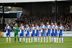 Bristol Rovers players applaud the memory of Ben Hiscox, local footballer who tragically passed away earlier in the week - Photo mandatory by-line: Neil Brookman/JMP - Mobile: 07966 386802 - 03/04/2015 - SPORT - Football - Bristol - Memorial Stadium - Bristol Rovers v Chester - Vanarama Football Conference