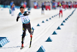 MA Mingtao CHN LW5/7 competing in the ParaSkiDeFond, Para Nordic Skiing, Sprint at  the PyeongChang2018 Winter Paralympic Games, South Korea.
