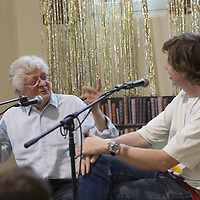 Barry Miles and Thurston Moore<br /> On stage at the Stoke Newington Literary Festival. 8 June 2014<br /> <br /> <br /> Picture by David X Green/Writer Pictures