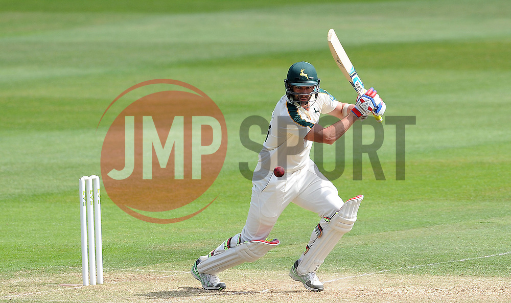 Nottinghamshire's Ben Hilfenhaus cuts the ball. - Photo mandatory by-line: Harry Trump/JMP - Mobile: 07966 386802 - 15/06/15 - SPORT - CRICKET - LVCC County Championship - Division One - Day Two - Somerset v Nottinghamshire - The County Ground, Taunton, England.
