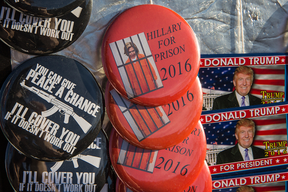 Hillary For Prison buttons sold outside of a Donald Trump Rally in Mississippi