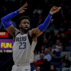 Dec 29, 2017; New Orleans, LA, USA; Dallas Mavericks guard Wesley Matthews (23) gestures after hitting a three point basket against the New Orleans Pelicans during the second quarter at the Smoothie King Center. Mandatory Credit: Derick E. Hingle-USA TODAY Sports