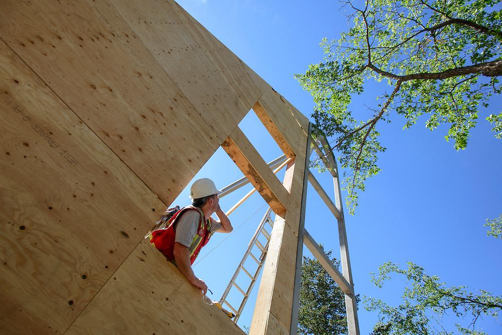 Canada, Edmonton. Aug/22/2013. McKernan Community League building renovation project. Roof construction.