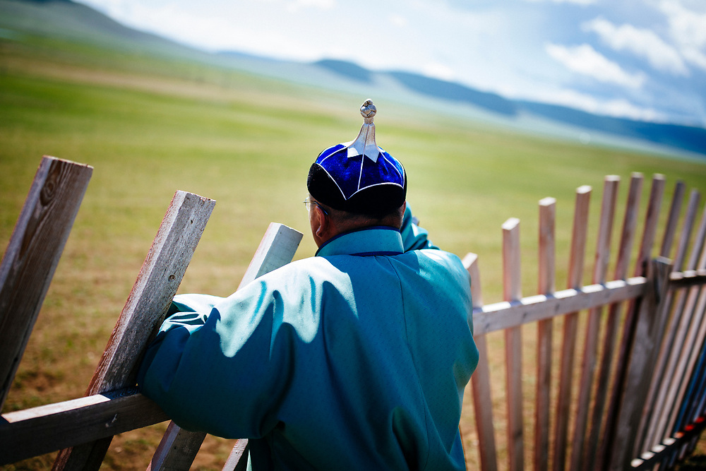 A Mongolian man in tradtional dress at the traditional Naadam festival in Tsagaannuur, northern Mongolia.