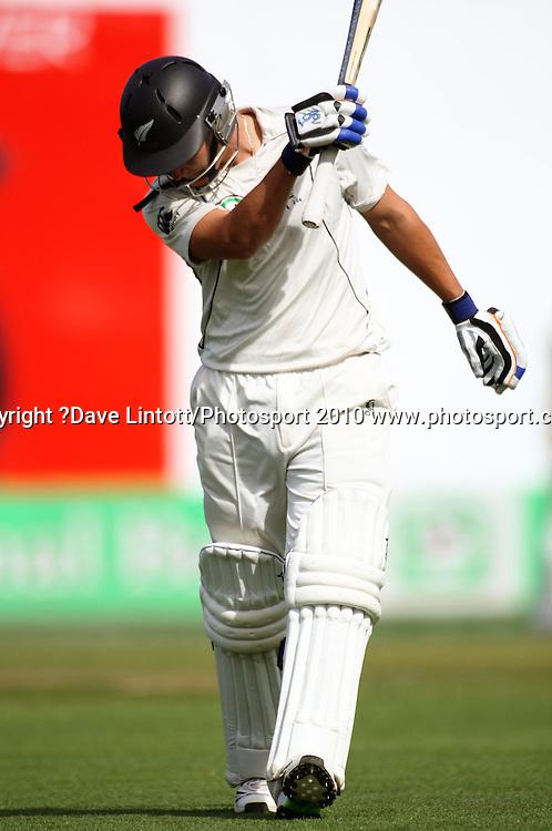 NZ's BJ Watling walks off after his dismissal.<br /> 1st cricket test match - New Zealand Black Caps v Australia, day three at the Basin Reserve, Wellington.Sunday, 21 March 2010. Photo: Dave Lintott/PHOTOSPORT