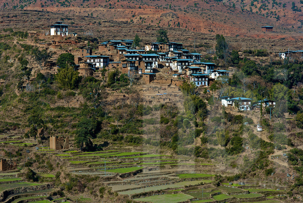 View of Rinchengang village, Eastern Bhutan, Asia