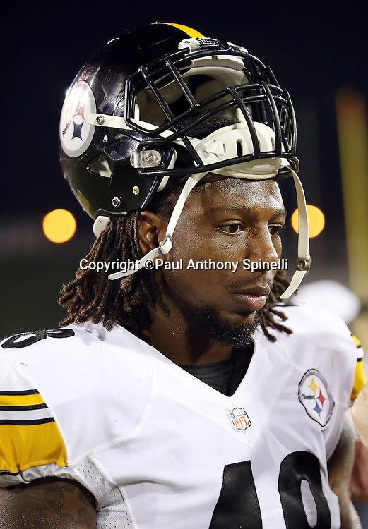 Pittsburgh Steelers rookie rookie linebacker Bud Dupree (48) does a postgame media interview after the 2015 NFL Pro Football Hall of Fame preseason football game against the Minnesota Vikings on Sunday, Aug. 9, 2015 in Canton, Ohio. The Vikings won the game 14-3. (©Paul Anthony Spinelli)