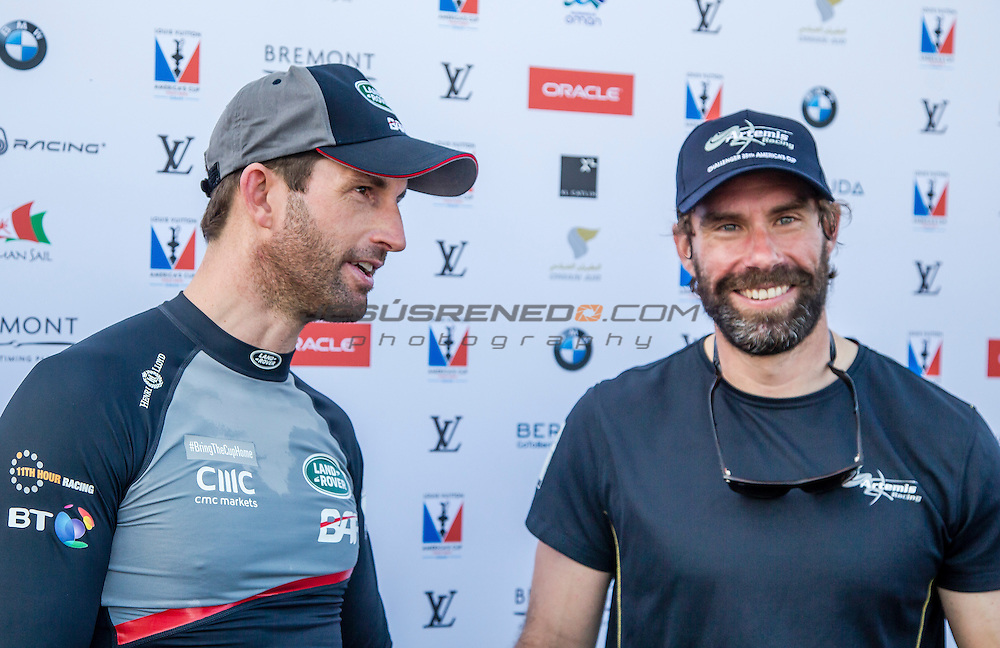 Artemis Racing Team Manager - Iain Percy.Land Rover BAR<br /> Team Principal - Ben Ainslie.America's Cup arrives in Muscat.Louis Vuitton America's Cup World Series Oman 2016.First day of racing.Muscat ,The Sultanate of Oman.Image licensed to Jesus Renedo/Lloyd images/Oman Sail