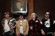 Competitors and patrons from El Dia Del Mustache IV at the No Idea Bar in New York.