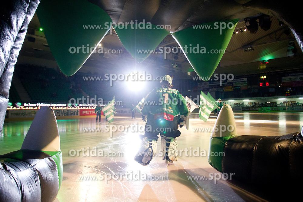 Jean-Philippe Lamoureux (HDD Tilia Olimpija, #1) before ice-hockey match between HDD Tilia Olimpija and SAPA Fehervar AV19 in 27th Round of EBEL league, on December 2, 2011 at Hala Tivoli, Ljubljana, Slovenia. (Photo By Matic Klansek Velej / Sportida)