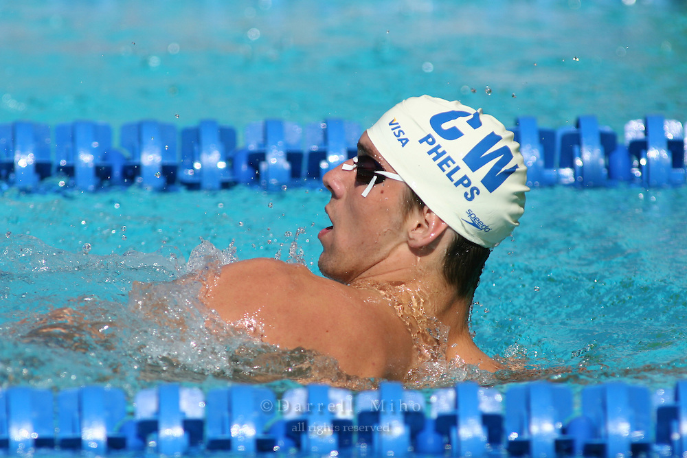 Aug 5, 2006; Irvine, CA, USA;  USA Swimming..Day 5 of the 2006 Conoco Phillips National Championships at the William Woollett Aquatics Center...Michael Phelps : M 200 meter backstroke..Photo credit: Darrell Miho