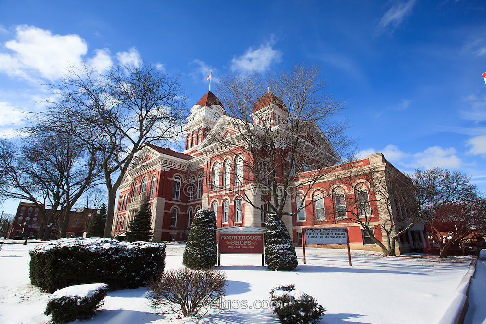 Crown Point Courthouse in winter in Crown Point Indiana. The Lake County Courthouse was built in 1878 and is nicknamed The Grand Old Lady. The courthouse architecture is Romanesque and Georgian. Today it's used for events and has a ballroom and restaurants. Photo is high resolution.