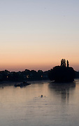 Kew Bridge, Great Britain, General Views from Kew [Road] Bridge. Sunrise, Early morning training, rowers and scullers, out on the River Thames.[Mandatory Credit. Peter Spurrier/Intersport Images] , Sunrise, Sunsets, Silhouettes