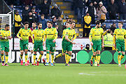 Norwich City celebrate Norwich City forward Josip Drmić (20) scoring a goal to make it 2-0 during the The FA Cup match between Burnley and Norwich City at Turf Moor, Burnley, England on 25 January 2020.