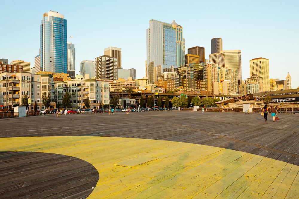 Pier 62 and downtown, Seattle, Washington, USA